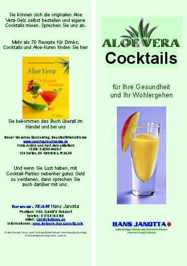 Werbematerial Cocktail Karte